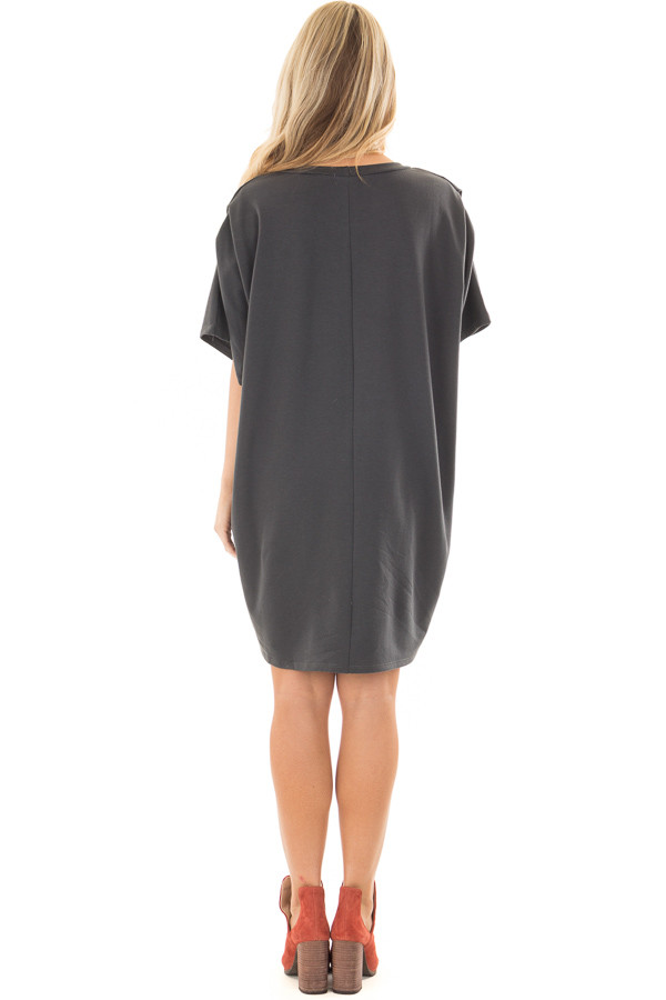 Charcoal Oversized Dress with Side Pockets back full body