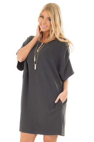 Charcoal Oversized Dress with Side Pockets front closeup