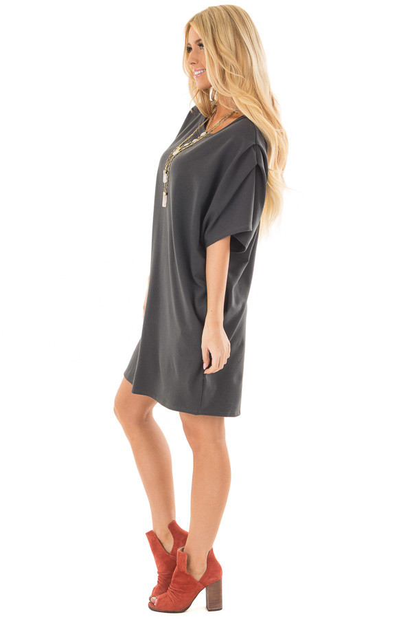 Charcoal Oversized Dress with Side Pockets side full body