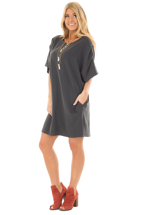 Charcoal Oversized Dress with Side Pockets front full body