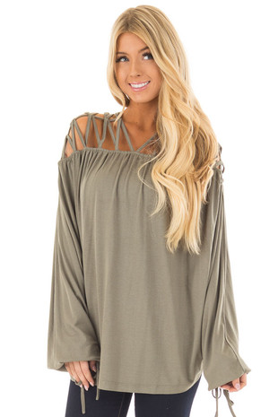 Olive Cage Neck Long Sleeve Top front closeup