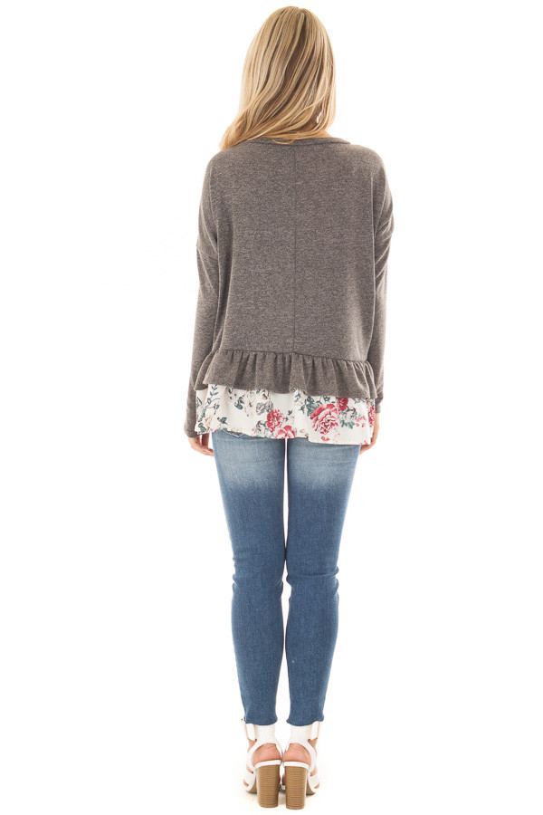 Charcoal Long Sleeve Top with Floral Contrast Ruffled Hem back full body