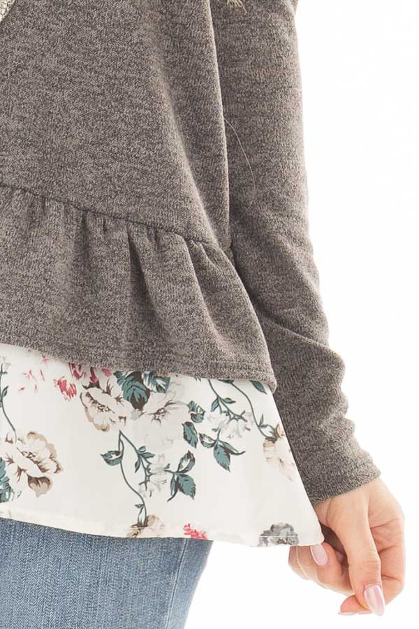 Charcoal Long Sleeve Top with Floral Contrast Ruffled Hem front detail