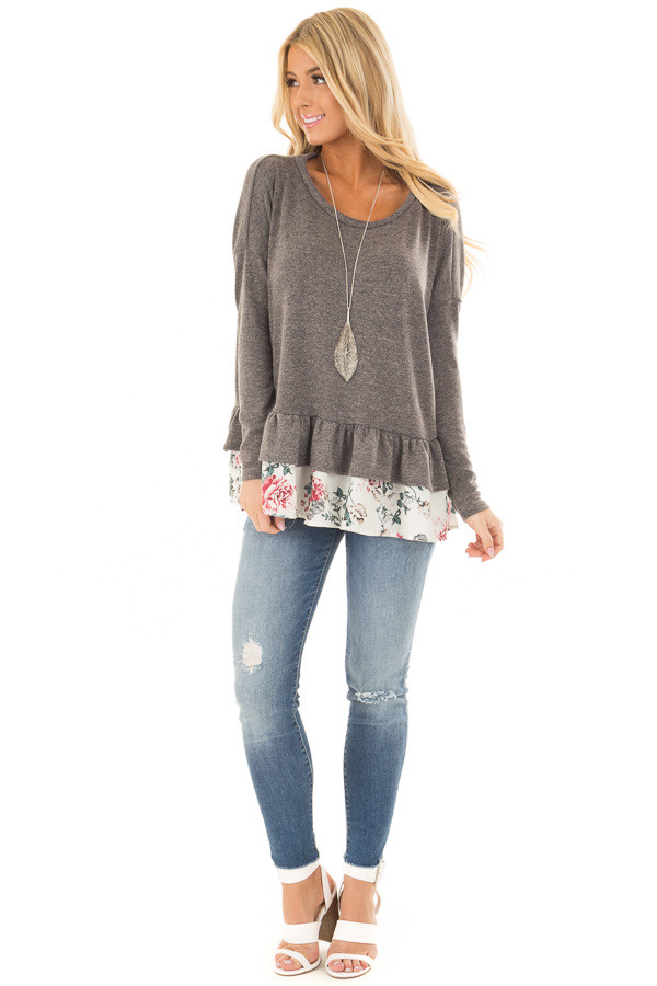 Charcoal Long Sleeve Top with Floral Contrast Ruffled Hem front full body