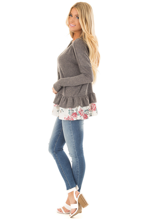 Charcoal Long Sleeve Top with Floral Contrast Ruffled Hem side full body