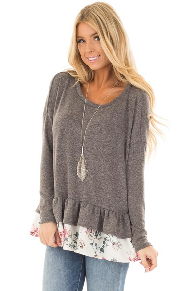 Charcoal Long Sleeve Top with Floral Contrast Ruffled Hem front closeup
