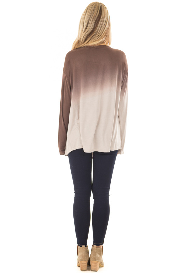 Chocolate Dip Dye Long Sleeve Top back full body