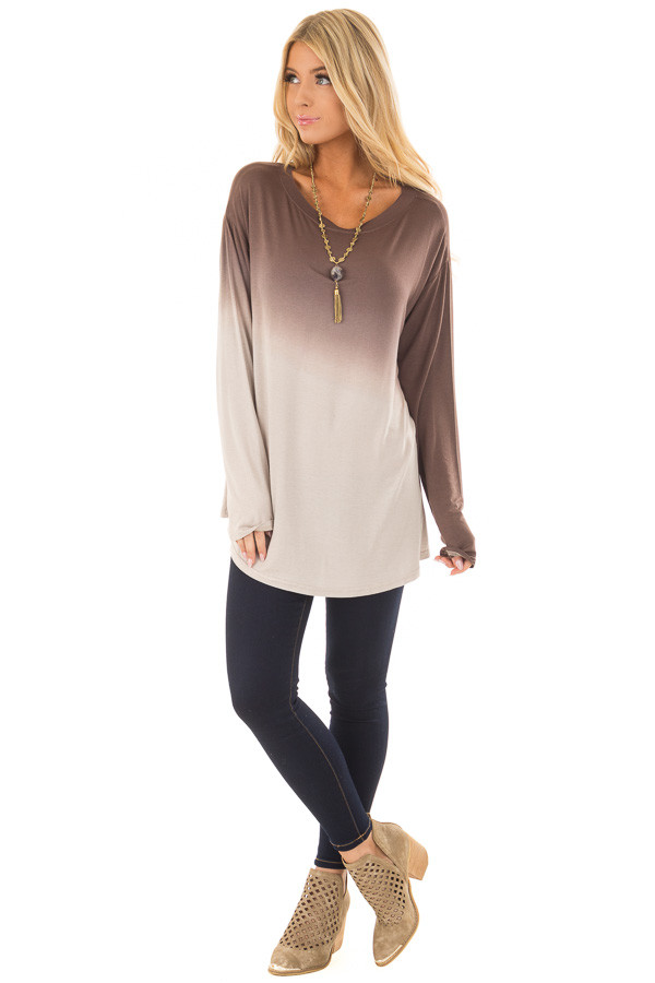 Chocolate Dip Dye Long Sleeve Top front full body
