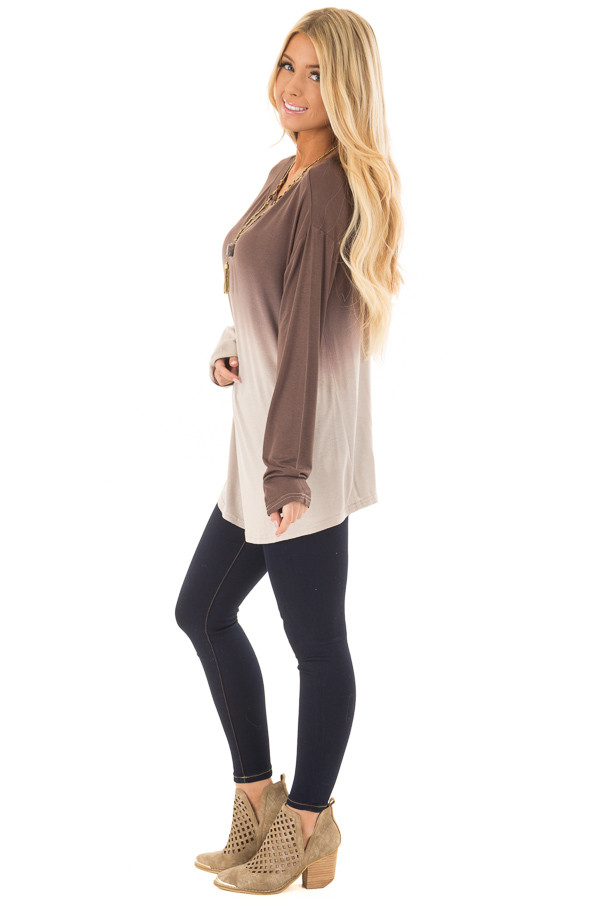 Chocolate Dip Dye Long Sleeve Top side full body