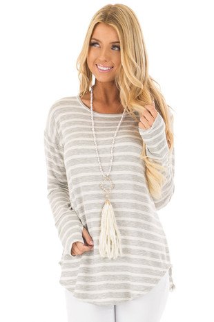 White and Grey Striped Top with Thumb Holes front close up