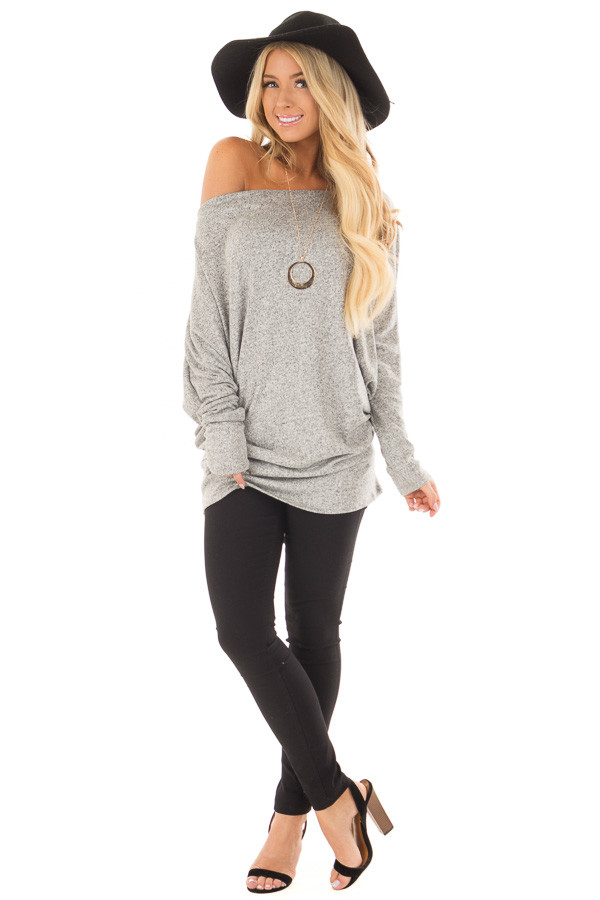 Heather Grey Off the Shoulder Dolman Soft Top front full body