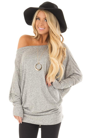 Heather Grey Off the Shoulder Dolman Soft Top front closeup