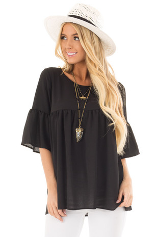 Black Ruffled Babydoll Blouse with Bell Sleeves front close up