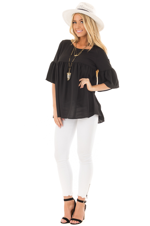 Black Ruffled Babydoll Blouse with Bell Sleeves front full body