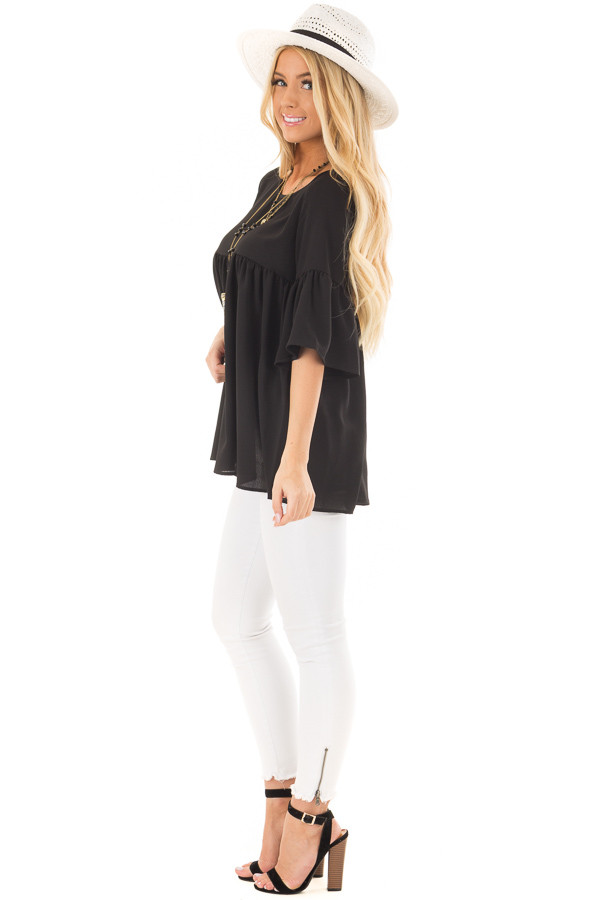 Black Ruffled Babydoll Blouse with Bell Sleeves side full body