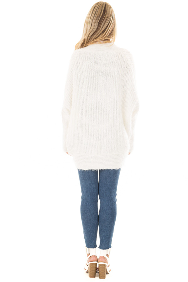 Off White Soft Knit Cardigan with Dolman Sleeves back full body