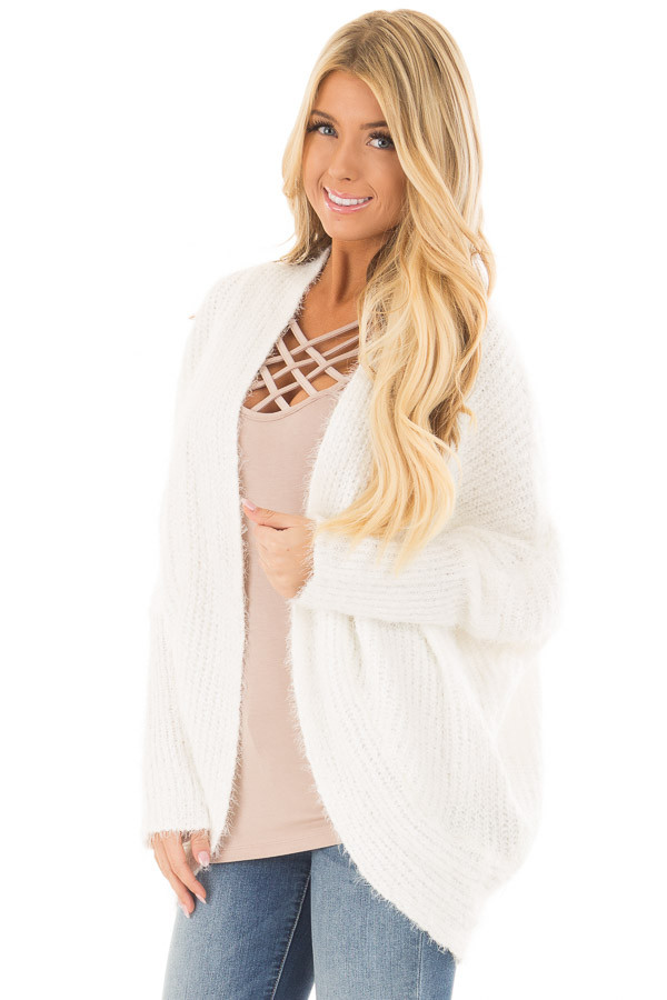 Off White Soft Knit Cardigan with Dolman Sleeves front closeup