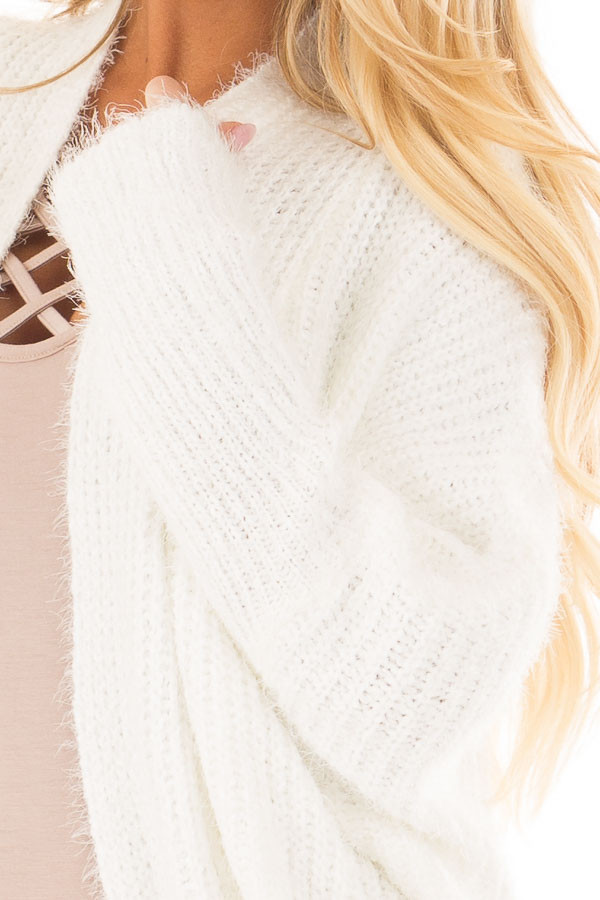 Off White Soft Knit Cardigan with Dolman Sleeves front detail
