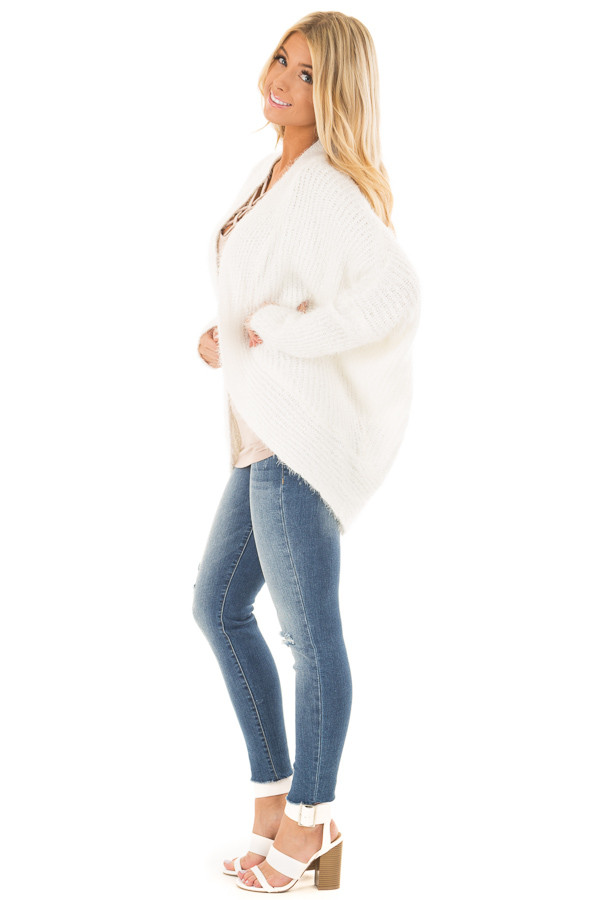 Off White Soft Knit Cardigan with Dolman Sleeves side full body