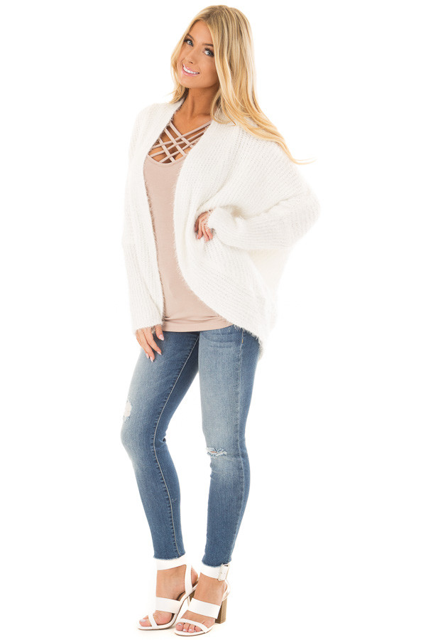 Off White Soft Knit Cardigan with Dolman Sleeves front full body