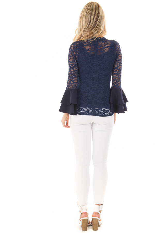 Navy Sheer Lace Fitted Top with Tiered Bell Sleeves back full body