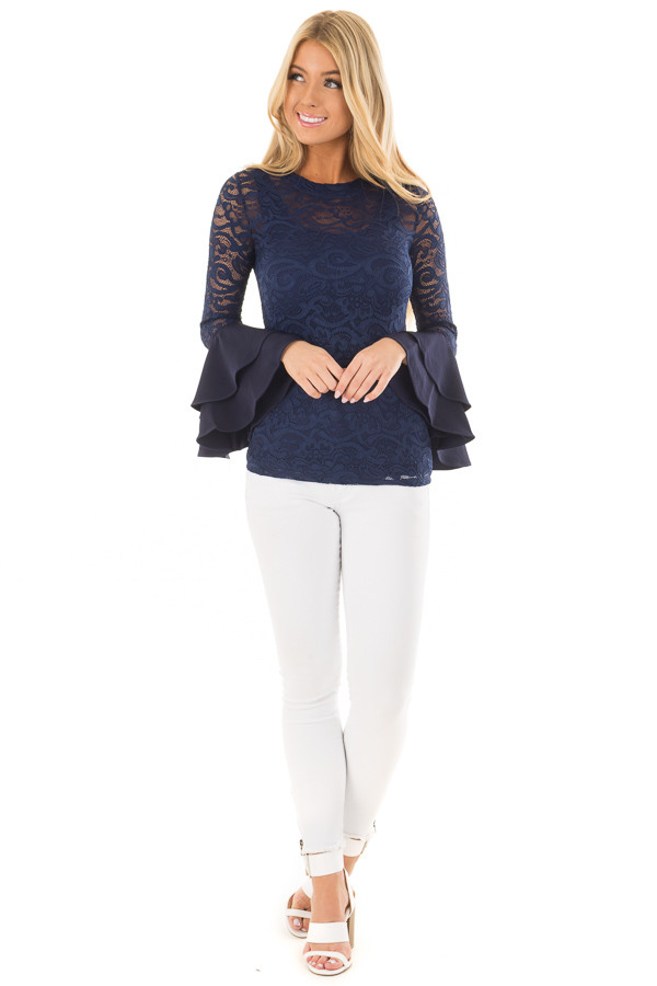 Navy Sheer Lace Fitted Top with Tiered Bell Sleeves front full body