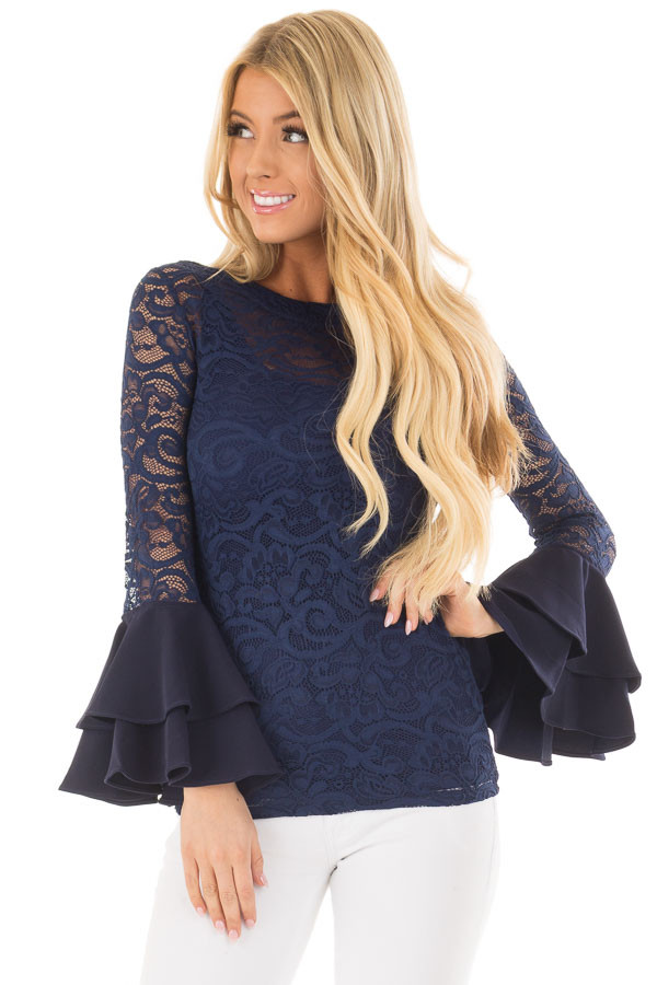 Navy Sheer Lace Fitted Top with Tiered Bell Sleeves front close up