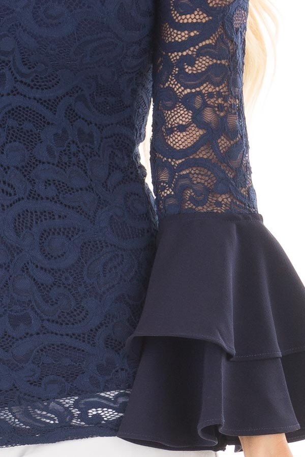 Navy Sheer Lace Fitted Top with Tiered Bell Sleeves detail