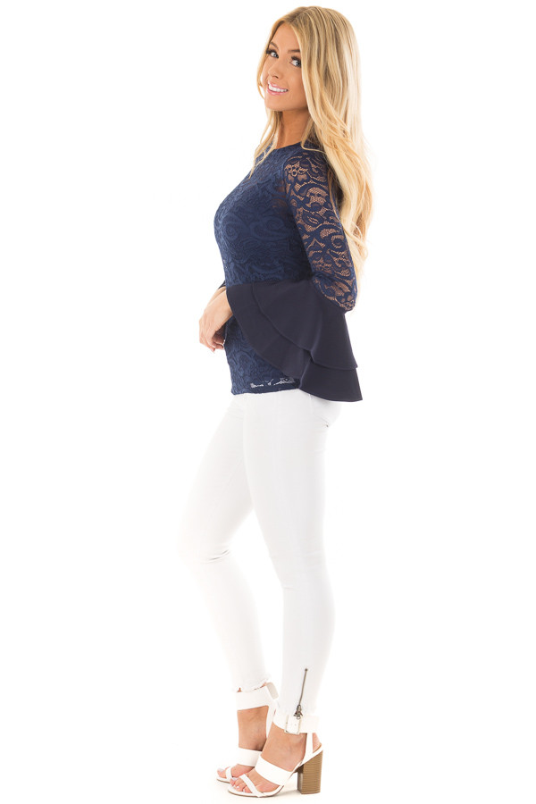 Navy Sheer Lace Fitted Top with Tiered Bell Sleeves side full body