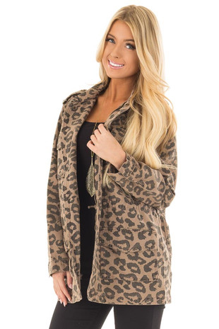 Leopard Print Denim Jacket with Adjustable Waist front closeup