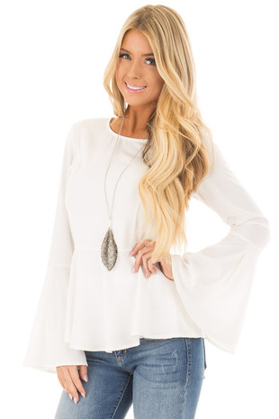 Off White Peplum Top with Bell Sleeves front closeup