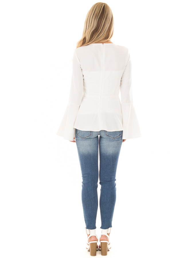Off White Peplum Top with Bell Sleeves back full body