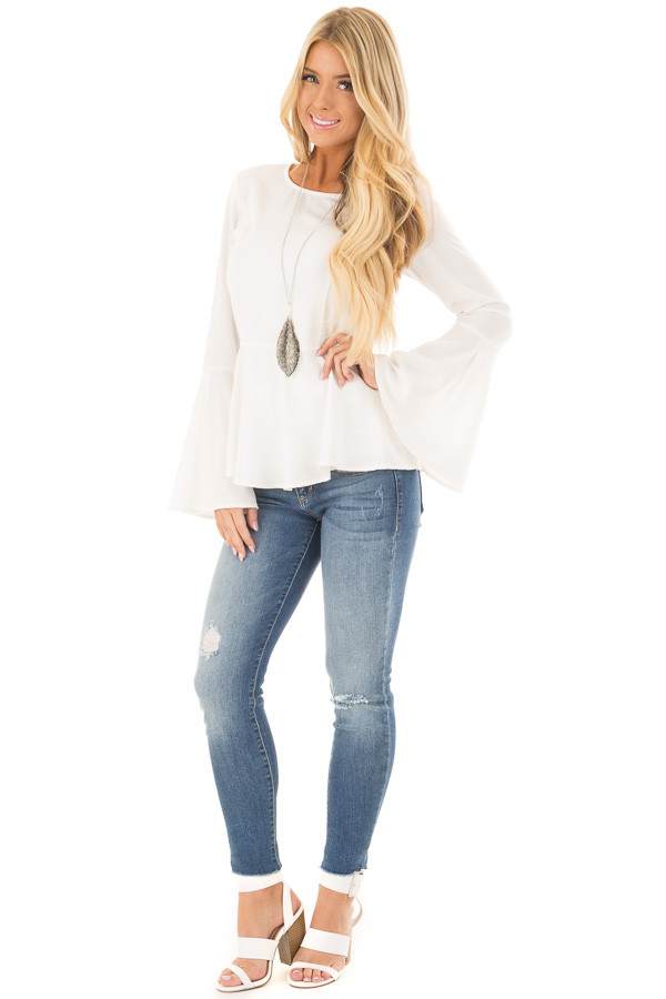Off White Peplum Top with Bell Sleeves front full body