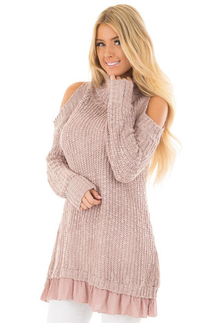 Mauve Cold Shoulder Turtleneck Sweater with Contrast Hem front closeup