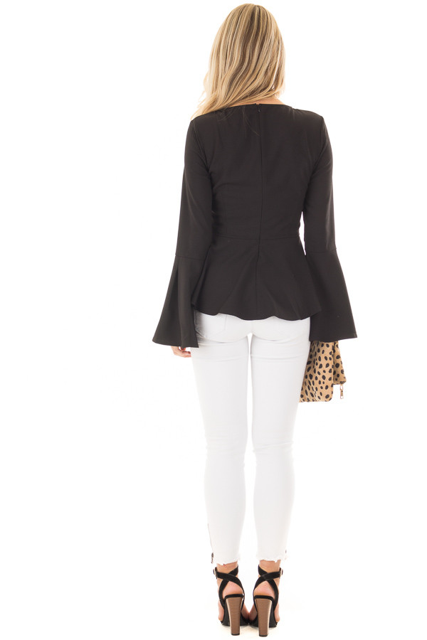 Black Peplum Top with Bell Sleeves back full body