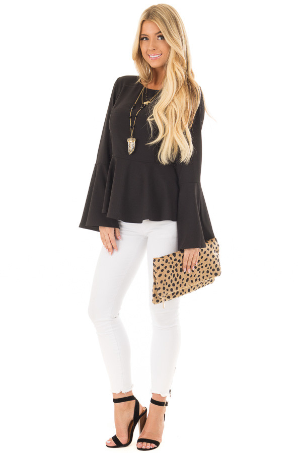 Black Peplum Top with Bell Sleeves front full body
