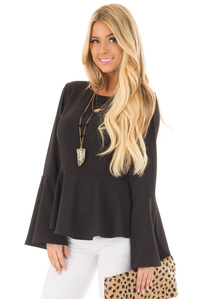 Black Peplum Top with Bell Sleeves front close up