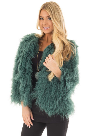 Hunter Green Faux Fur Open Jacket front closeup