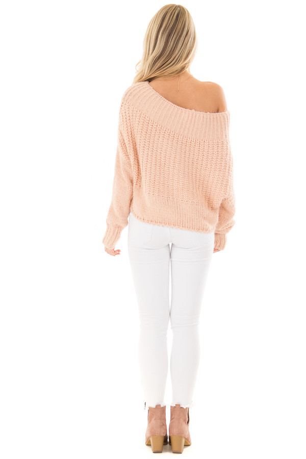 Blush Off the Shoulder Long Sleeve Sweater back full body