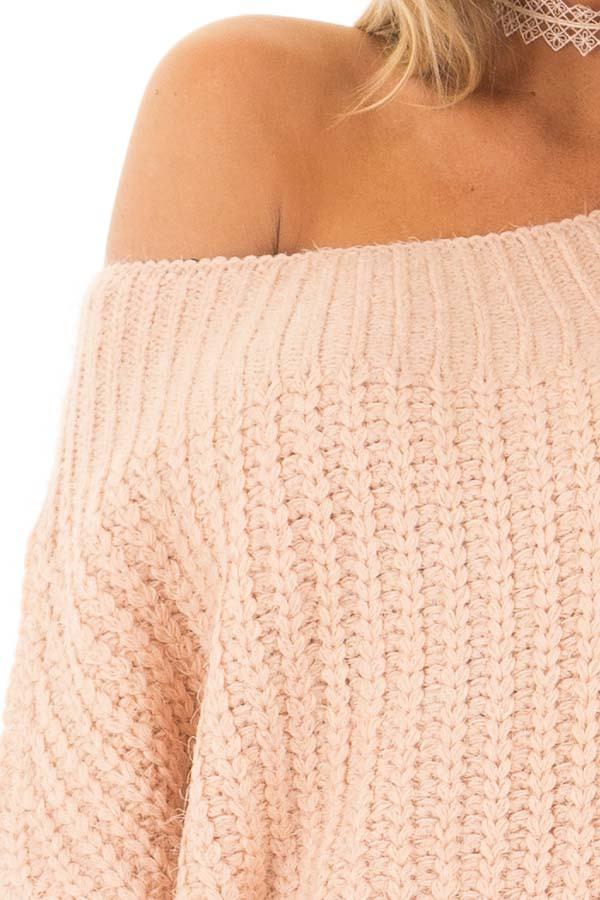 Blush Off the Shoulder Long Sleeve Sweater front detail