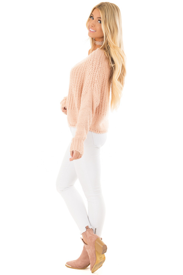 Blush Off the Shoulder Long Sleeve Sweater side full body