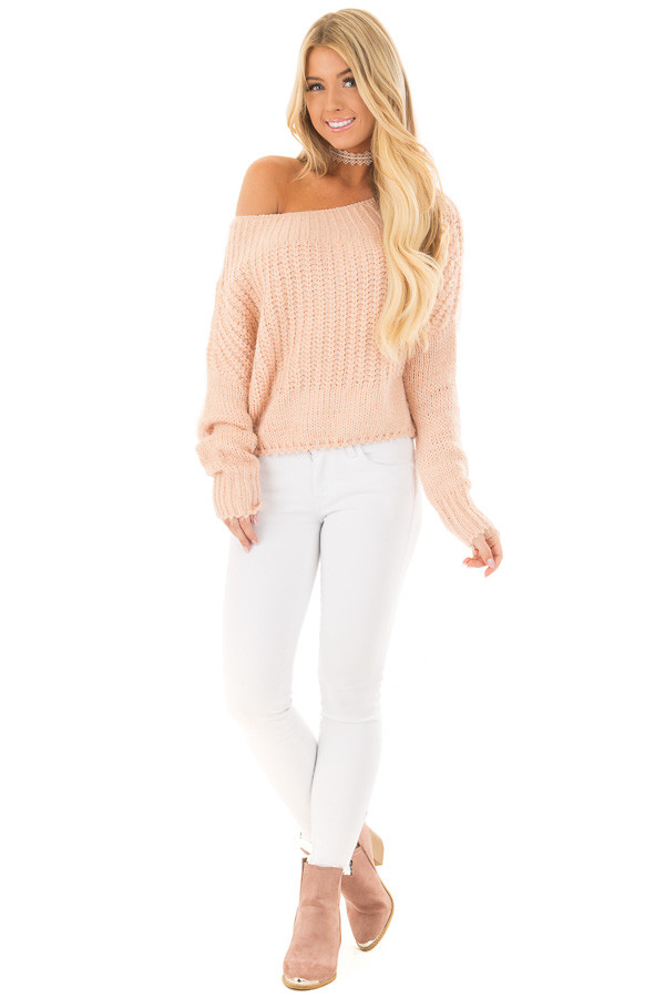 Blush Off the Shoulder Long Sleeve Sweater front full body