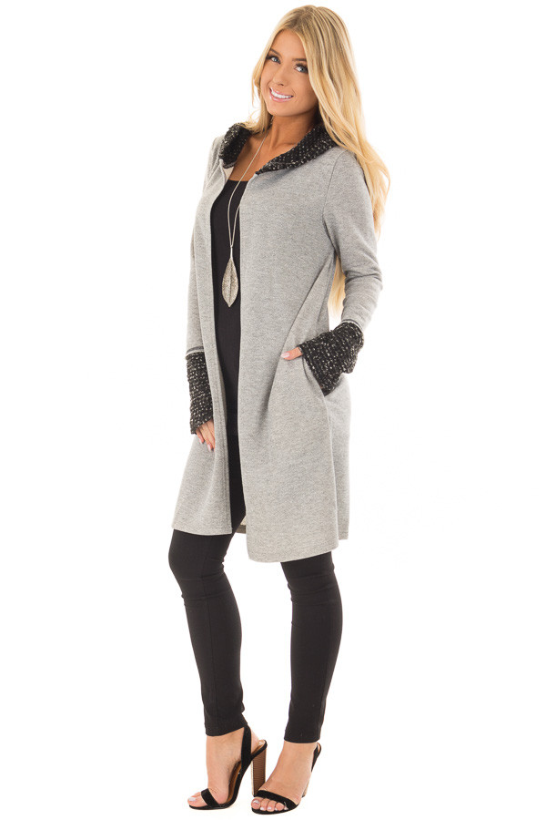 Heather Grey Cardigan with Hood front full body