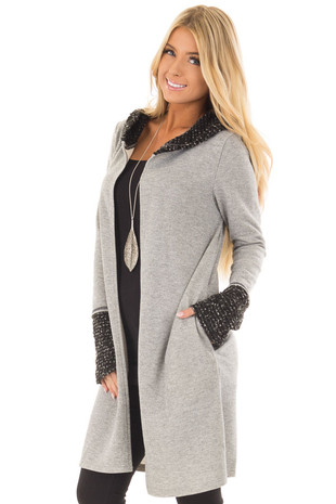 Heather Grey Cardigan with Hood front closeup