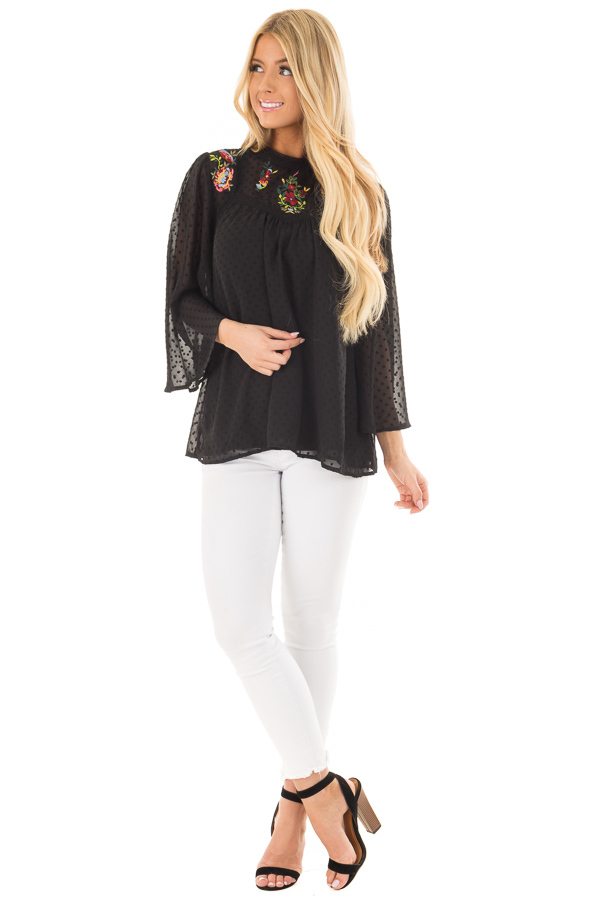 Black Sheer Top with Floral Embroidery Detail front full body
