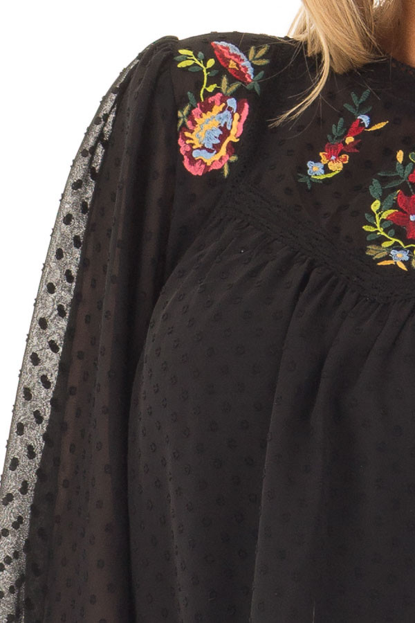 Black Sheer Top with Floral Embroidery Detail detail