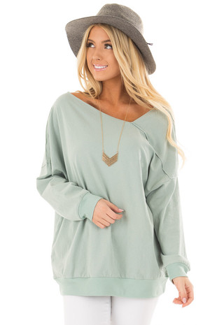 Mint Long Sleeve Sweater with Asymmetrical Neck front closeup