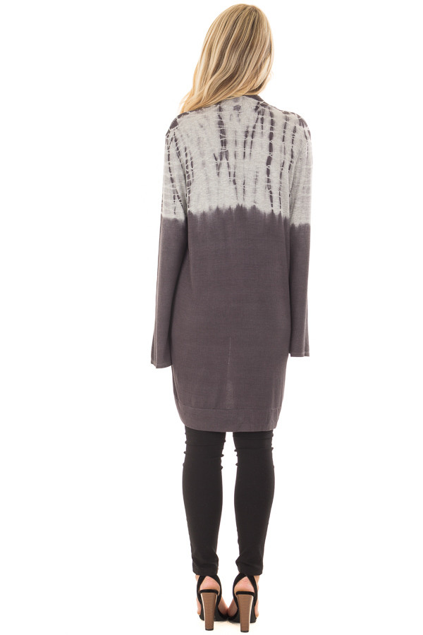 Charcoal and Heather Grey Dip Dye Open Cardigan back full body