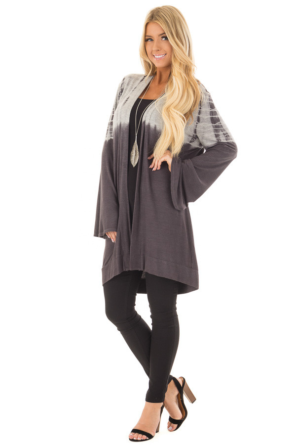 Charcoal and Heather Grey Dip Dye Open Cardigan front full body