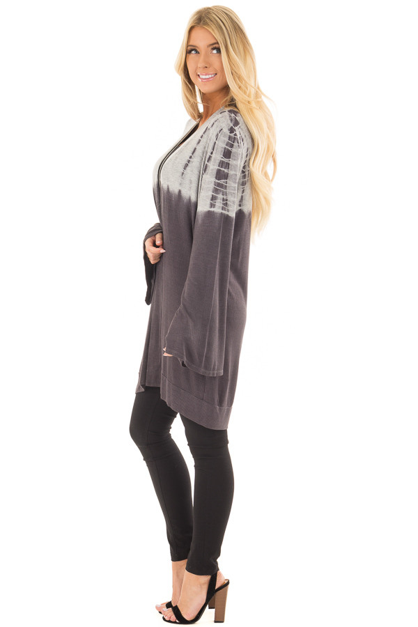 Charcoal and Heather Grey Dip Dye Open Cardigan side full body